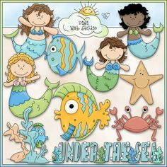 Clip Art and Digital Stamps Download with 10 Color Images and 10 Black and White Images with a white fill (as shown in the preview).  All images are high quality 300 dpi for beautiful printing results.Formats: transparent PNG and non-transparent JPGIncludes: 4 mermaids, 2 fish, 1 crab, 1 starfish, 1 grouping with a fish swimming in the coral reef, 1 word art of: UNDER THE SEA.Leah Rae (Digi Web Studio) is a licensed reseller of this original artwork by Alice Smith.TERMS OF USE for Digi Web…