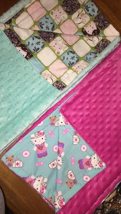 Minky Blanket Mint Blue Owl or Hot Pink by Handcraftsoflove1