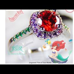 "The Little Mermaid Ariels""Part of Your World""Ring The Little Mermaid Ariels ""Part of Your World"" Ring Size 7' Sterling Silver $115. Beautifully crafted with highest quality. Main stone ed purple,,mgreen CZsAmazing sparkle. May become a collector'spiece. Jewelry Rings"