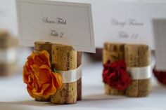 I love wine corks! I would chose a different color ribbon to go along with my theme wedding of Autumn