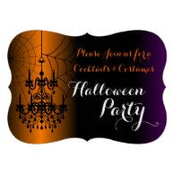 Cocktails and Costumes Chandelier Halloween Party Invitation