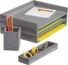 cement desk accessories  | CB2
