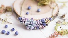 Succulent and Blueberry necklace.Woodland by imakeflowers on Etsy