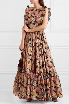 Shop on-sale Ruffled floral-print silk gown. Browse other discount designer Gowns & more luxury fashion pieces at THE OUTNET SEE DETAILS Floral Mesh Dress, Floral Print Gowns, Printed Gowns, Floral Skater Dress, Floral Dresses, Maxi Dresses, Long Gown Dress, Indian Gowns Dresses, Frock Design