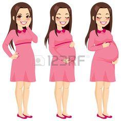 Mostrando creciente proceso de embarazo y bella morena mujer embarazada toc�ndose el vientre photo