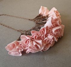 Pale Pink and Antique Copper Fabric Flower por DesignTheory en Etsy