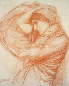 John William Waterhouse ~ Study for Boreas, c.1903 (chalk)