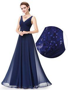 Ever Pretty Womens Chiffon Sleeveless Lave V-Neck Floor Length Military Ball Dress 10 US Navy Blue