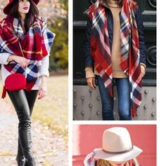 """Plaid Tartan Blanket Scarf Plaid Tartan Blanket Scarf  Amazing New Arrival Wool Blend Blanket Oversized Tartan Winter Scarf.  Size: 55"""" x 55"""".  Brand New in Package.  Color: See pictures. Accessories Scarves & Wraps"""