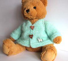 Jacke-fuer-ca-35-40-45cm-Baeren-Teddy-Puppe-Puppenkleid-Neu-shabby-vintage-pferd