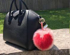 Fluffy and Oversized heart pompom keychain/charms. by OriasPom