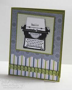 Stampin Up Just My Type; Like the trimmed paper and the ribbon accent.