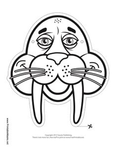 Walrus Mask to Color Printable Mask, free to download and print