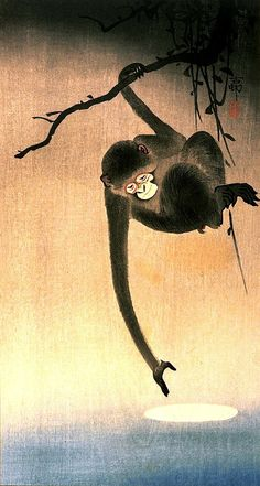 Japanese art, Monkey and Moon Ohara Koson (Shoson) FINE ART PRINT, japanese woodblock prints, monkeys animal paintings, art prints, posters
