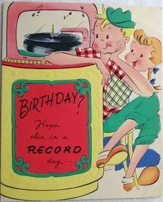 Adorable vintage birthday card! Vintage Birthday Cards, Vintage Greeting Cards, Birthday Greeting Cards, Birthday Greetings, Beatles Birthday, Retro Birthday, Birthday Bash, Birthday Quotes, Happy Birthday