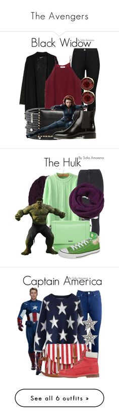 """""""The Avengers"""" by sofiaamorena ❤ liked on Polyvore featuring MANGO, Roberto Demeglio, M&S, Wilfred, Valentino, Yves Saint Laurent, Brora, Topshop, DKNY and Converse"""