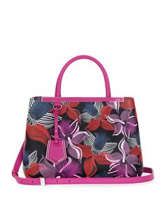 V2GXH Fendi 2Jours Petit Leather Orchid-Print Tote Bag, Magenta