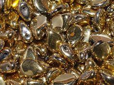 Preciosa® Traditional Czech Glass Pip Beads Jet Amber from Nosek's Just Gems
