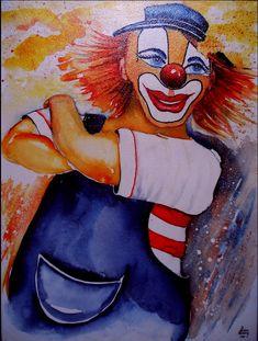 My name is Joe Aquarell auf Leinwand Cowboy Beans, Es Der Clown, Scary Clowns, The Fool, 21st Century, Carnival, Painting, Image, Art