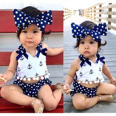 かわいい赤ちゃんの女の子服セットアンカー弓トップス+ポルカドットブリーフ+ヘッドバンド3ピースノースリーブ衣装セット赤ちゃん女の子0-24 monthes