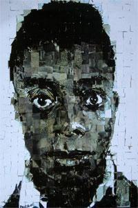 "James Baldwin. Collage on Board. 2002. 24 x 30"".  Artist: Samuel Price. samuelpriceart.com"