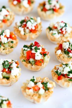Mini Hummus and Roasted Pepper Phyllo Bites...Quick and easy appetizers! Only 67 calories and 2 Weight Watcher PP   cookincanuck.com #recipe #vegetarian