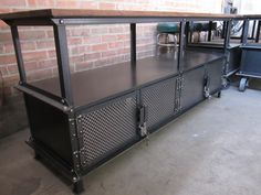Long Ellis Console with 4 locking doors with vintage reproduction padlocks by Vintage Industrial Furniture