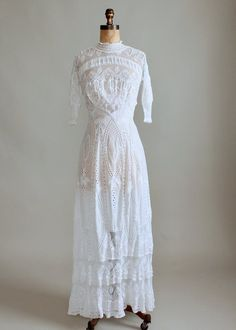 This Edwardian dress is stunning! White cotton with net 437342585650