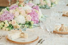 low table centerpiece with Pink and White Hydrangea and Roses