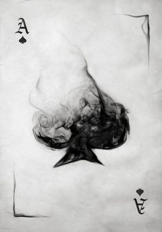 I am a big fan of using smoke to make art. It is amazing how it just flows. I would buy a pack of cards if they had a smoke design on them. This is done really well. I like how the bottom is mostly formed so you can easily tell what type of card it is and it flows up into smoke.