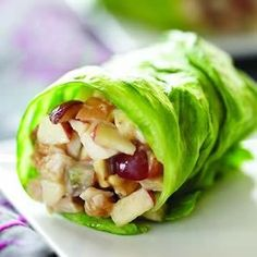 Healthy Food Recipie - Summer wraps: 1/2 cup chopped chicken, 3 Tbsp Fuji apples chopped, 2 Tbsp red grapes chopped, 2 tsp honey, 2 Tbsp almond butter. Mix and wrap in a Romaine lettuce leaf.