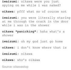 haikyuu!! | hq | iwaizumi hajime x oikawa tooru | iwaoi Oikawa X Iwaizumi, Sugawara Koushi, Iwaoi, Kagehina, Haikyuu Funny, Haikyuu Anime, Kurotsuki, Volleyball Anime, Haikyuu Ships