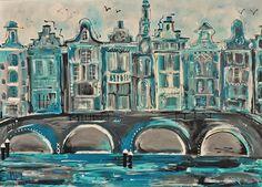Dutch artist   Mir / Mirthe Kolkman paints dutch cows  amsterdam canals  and animals art kunst stadsgezicht amsterdam city canals holland schilderij painting artworks houses grachtenpanden