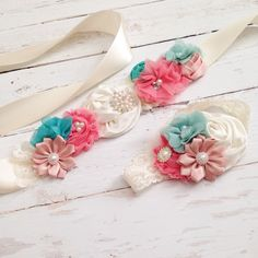 coral blush seafoam aqua teal cream sash headband-maternity belly sash-wedding bridal sash-bucket wrap-photography prop by Goldfeatherboutique on Etsy https://www.etsy.com/listing/182201213/coral-blush-seafoam-aqua-teal-cream-sash