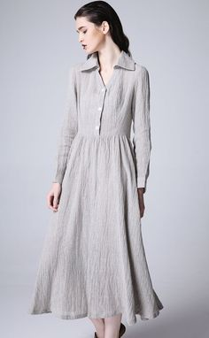 Gray linen dress maxi dress women dress 1166 by xiaolizi on Etsy