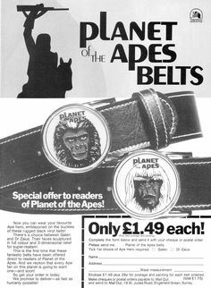 """Planet of the Apes Belts """"Take this belt off of me you damn dirty ape!"""