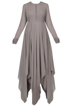 Grey brown asymmetrical cut flared anarkali set available only at Pernia's Pop Up Shop.