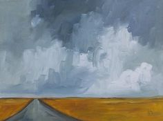ORIGINAL oil painting clouds road and sky grey and mustard