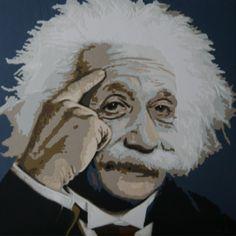 Albert Einstein, 80 x 80 cm. Art quilt made by Dorte Jensen, www.stofbilleder.dk Facebook: https://www.facebook.com/pages/Stofbilleder/298536300198776?bookmark_t=page