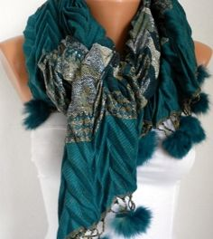 ON SALE - Scarf  - Cotton Shawl -  - Cowl with Pompom Edge - Multicolor ///