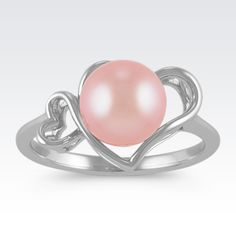 Pink Cultured Pearl and Sterling Silver Ring