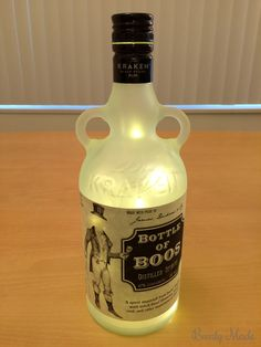 """This post is about a """"Bottle of Boos"""" I created for Halloween. This post covers how to drill the hole, frost the glass, and install the lights. Potion Bottle, Vodka Bottle, Bottle Lights, Kraken, Hallows Eve, Halloween Crafts, Rum, Bottles, Glass"""