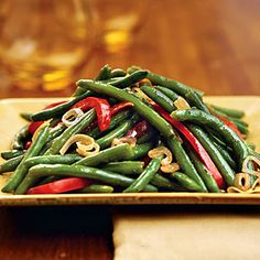 83 Spectacular Thanksgiving Sides | Green Beans With Shallots and Red Pepper | SouthernLiving.com