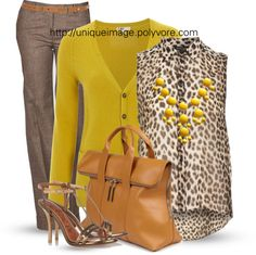 """Brown, Yellow & Leopard"" by uniqueimage on Polyvore"