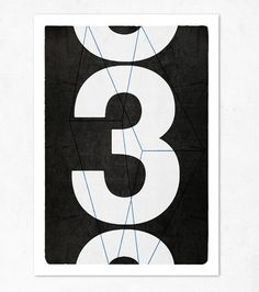 Large print 11.70 x 16.50 A3. Big number three. by edubarba, €13.50