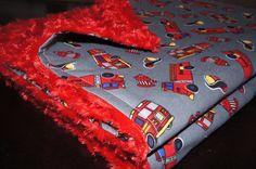 SALE - Rockin Red Fire Truck Minky Blanket - New Baby - Baby Boy - Fire Truck - Firemen on Etsy, $35.00