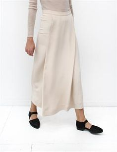 Creatures of Comfort Keal Skirt Washed Silk Ivory