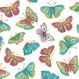 Ivory Jeweled Butterflies Gift Wrap Roll