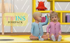 Don't claim my creations as your own Don't re-upload my creations You will need: andrew's pose player teleport any sim OPTIONAL: Body Height for Toddler by HERE (I use baby size. Twin Toddlers, Twin Babies, Twins, Toddler Poses, Baby Poses, Twin Outfits, Toddler Outfits, Sims 4 Toddler Clothes, Sims 4 Family