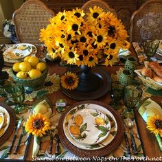 Sunflower Centerpiece for Limoncello Table Setting with Lemon Dishware